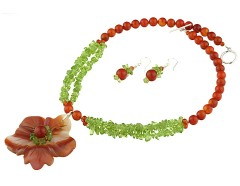 Set floare agat rosu, carneol si peridot