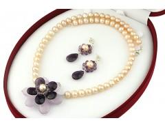 Set floare ametist si perle naturale piersica