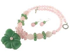 Set floare aventurin verde si cuart roz