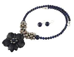 Set floare blue goldstone, lapis lazuli si perle gri