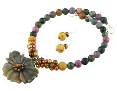 Set floare din agat indian si perle de cultura