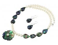 Set floare sidef Paua si perle de cultura