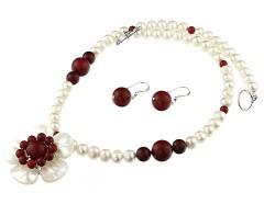 Set floare sidef, perle de Mallorca si perle de cultura