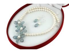 Set flori din acvamarin si perle de cultura albe