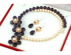 Set flori din ametist, cristale Swarovski si perle naturale