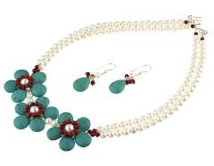 Set flori din turcoaz, coral si perle de Mallorca