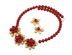 Set flori perle de Mallorca rosii si perle de cultura
