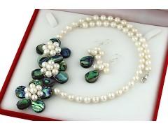 Set flori sidef paua si perle de cultura albe