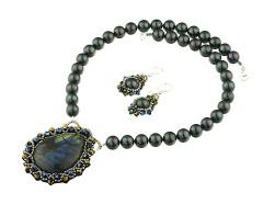 Set labradorit, perle de Mallorca si cristale Swarovski
