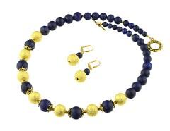 Set lapis lazuli si margele stardust aurii
