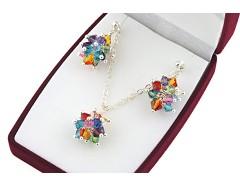 Set multicolor cristale Swarovski si argint