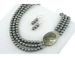 Set multisir camee sidef si perle de Mallorca gri