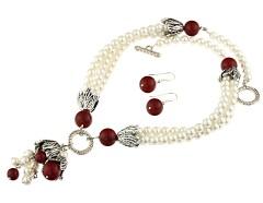 Set multisir din perle de Mallorca albe si rosii