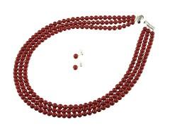 Set multisir din perle de Mallorca rosii