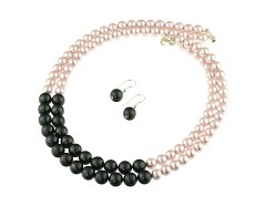 Set multisir perle de Mallorca negre si roz