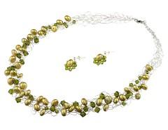 Set crosetat din perle, cristale Swarovski Olivine si argint