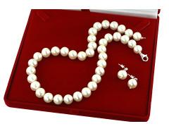 Set perle de cultura 11 - 12 mm, calitate AAA si argint