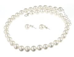 Set perle naturale albe 10 - 11 mm, calitate AA+ si argint
