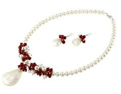 Set perle de cultura albe, coral rosu si sidef