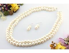 Set perle de cultura albe 8 - 9 mm AA si argint