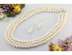 Set perle naturale albe AA 8 - 9 mm si argint
