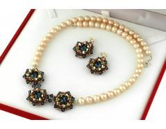 Set perle naturale piersica si cristale Swarovski