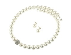 Set perle de Mallorca albe, rhinestone si argint