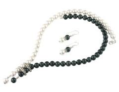 Set perle de Mallorca alb-negru