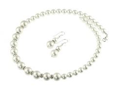 Set perle de Mallorca albe si rhinestone