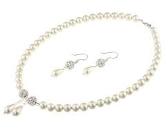 Set perle de Mallorca, cristale Swarovski Clear si rhinestone