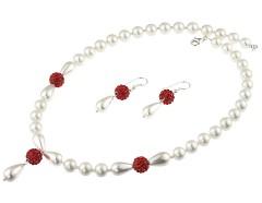 Set perle de Mallorca, rhinestone rosu si argint