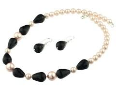 Set perle de Mallorca roz, onix si argint