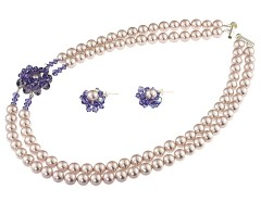 Set perle de Mallorca, Swarovski Tanzanite si argint