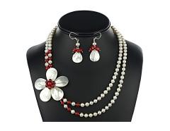 Set perle de cultura si floare din sidef
