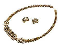 Set perle maro, cristale Swarovski Siam si argint