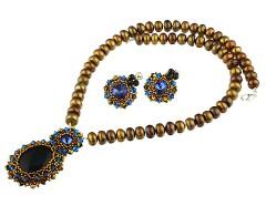 Set perle maro, onix si Swarovski Sapphire