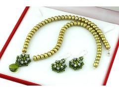 Set perle oliv, Swarovski Olivine si Crystal AB