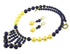 Set salba lapis lazuli si margele stradust aurii