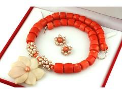 Set unicat opal de Peru, coral portocaliu si perle