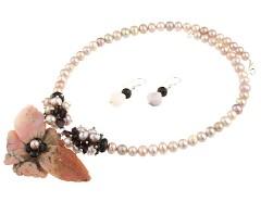 Set unicat opal de Peru, granat si perle de cultura