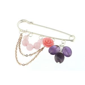 Brosa agrafa cu ametist, cuart roz si trandafir coral