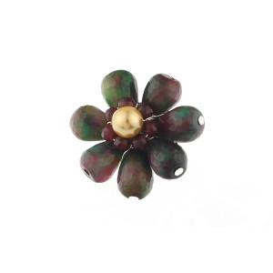 Brosa floare din jad in doua nuante