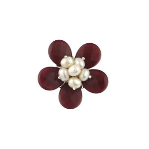 Brosa floare din jad rosu si perle de cultura