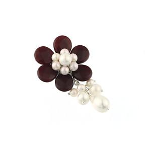 Brosa floare din jad rosu si perle de Mallorca