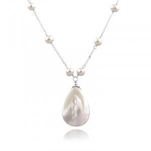 Colier din argint, sidef alb si perle naturale
