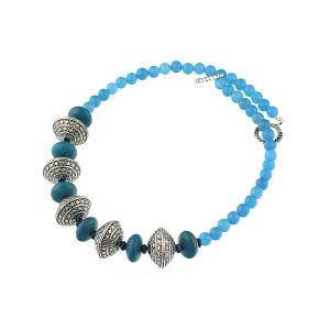Colier din turcoaz si jad albastru