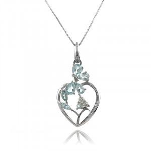 Colier inima din argint si topaz albastru