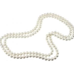 Colier lung din perle de Mallorca albe 8 mm