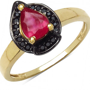 Inel argint placat cu aur cu rubin si spinel negru