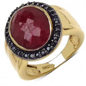 Inel argint placat cu aur, rubin si spinel negru